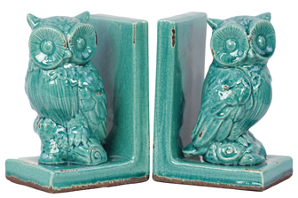 UTC11148-AST Stoneware Owl Bookend Assortment of Two Gloss Finish Turquoise