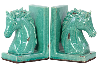 UTC11151 Stoneware Horse Head on Base Bookend Set of Two Distressed Gloss Finish Cyan
