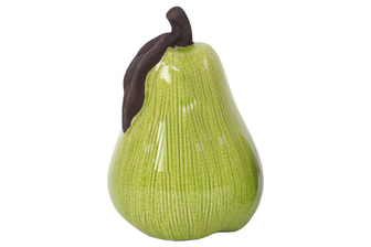 UTC11162 Stoneware Pear Figurine with Brown Stem and Leaf Gloss Finish Chartreuse Green