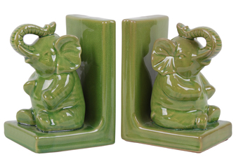 UTC11175-AST Stoneware Sitting Trumpeting Elephant Figurine on Base Bookend Assortment of Two Gloss Finish Yellow Green