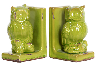 UTC11176-AST Stoneware Owl Figurine Perched on a Tree Branch Bookend Assortment of Two Distressed Gloss Finish Yellow Lime