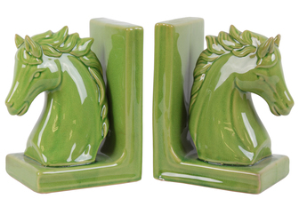 UTC11178-AST Stoneware Horse Head on Base Bookend Assortment of Two Gloss Finish Yellow Green