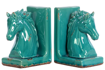 UTC11182-AST Stoneware Horse Head on Base Bookend Assortment of Two Distressed Gloss Finish Turquoise