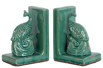 UTC11187-AST Ceramic Peacock Bookend Assortment of Two Gloss Finish Cyan
