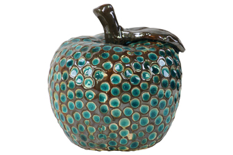 UTC11219 Ceramic Apple Figurine with Dimples Gloss Finish Turquoise