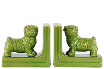 UTC11230-AST Ceramic British Bulldog Figurine Bookend Assortment of Two Gloss Finish Green
