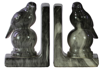 UTC11248-AST Ceramic Perching Bird Figurine on a Ball Pedestal Bookend Assortment of Two Marbleized Gloss Finish Black
