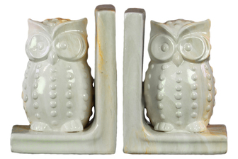 UTC11253-AST Ceramic Owl Figurine Bookend Assortment of Two Marbleized Gloss Finish Cream