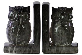 UTC11254-AST Ceramic Owl Figurine Bookend Assortment of Two Marbleized Gloss Finish Black