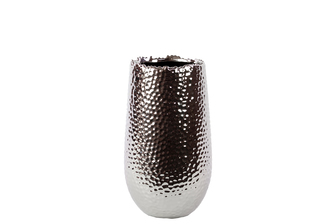 UTC11400 Ceramic Round Vase with Uneven Lip and Rounded Bottom SM Dimpled Polished Chrome Finish Silver