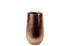 UTC11401 Ceramic Round Vase with Uneven Lip and Rounded Bottom SM Dimpled Polished Chrome Finish Copper