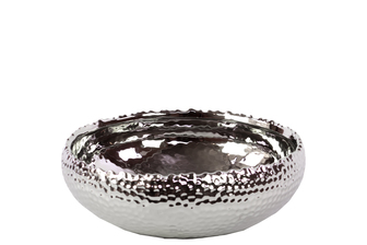 UTC11406 Ceramic Round Pot with Uneven Lip SM Dimpled Polished Chrome Finish Silver