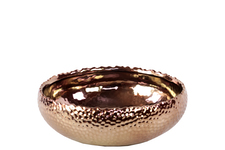UTC11407 Ceramic Round Pot with Uneven Lip SM Dimpled Polished Chrome Finish Copper