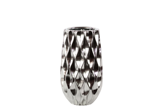UTC11410 Ceramic Round Vase with Embossed Wave Design and Rounded Bottom SM Polished Chrome Finish Silver
