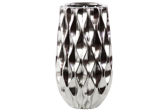UTC11411 Ceramic Round Vase with Embossed Wave Design and Rounded Bottom LG Polished Chrome Finish Silver