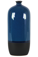 UTC11419 Ceramic Bottle Vase with Small Mouth, Short Neck and Black Banded Rim Bottom LG Gloss Finish Blue