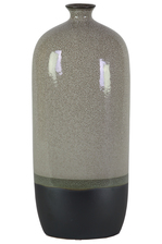 UTC11420 Ceramic Bottle Vase with Small Mouth, Short Neck and Black Banded Rim Bottom LG Gloss Finish Gray