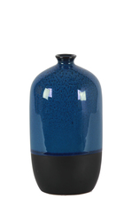 UTC11421 Ceramic Bottle Vase with Small Mouth, Short Neck and Black Banded Rim Bottom SM Gloss Finish Blue