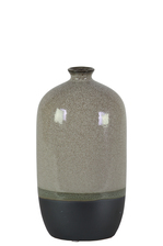 UTC11422 Ceramic Bottle Vase with Small Mouth, Short Neck and Black Banded Rim Bottom SM Gloss Finish Gray