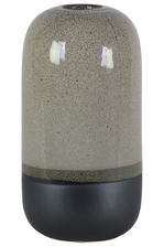 UTC11424 Ceramic Cyclinder Vase with Small Mouth and Black Banded Rim Bottom LG Gloss Finish Gray