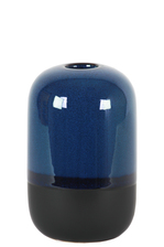 UTC11425 Ceramic Cyclinder Vase with Small Mouth and Black Banded Rim Bottom SM Gloss Finish Blue