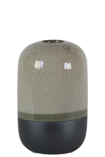UTC11426 Ceramic Cyclinder Vase with Small Mouth and Black Banded Rim Bottom SM Gloss Finish Gray