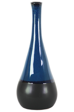 UTC11427 Ceramic Bellied Round Vase with Small Mouth, Long Neck and Black Banded Rim Bottom LG Gloss Finish Blue