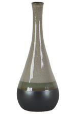 UTC11428 Ceramic Bellied Round Vase with Small Mouth, Long Neck and Black Banded Rim Bottom LG Gloss Finish Gray