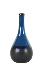 UTC11429 Ceramic Bellied Round Vase with Small Mouth, Long Neck and Black Banded Rim Bottom SM Gloss Finish Blue