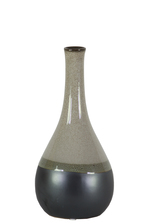 UTC11430 Ceramic Bellied Round Vase with Small Mouth, Long Neck and Black Banded Rim Bottom SM Gloss Finish Gray