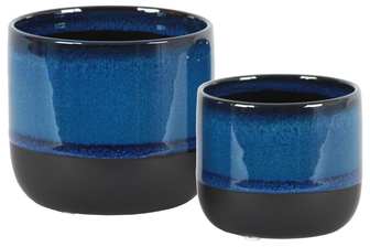 UTC11431 Ceramic Round Pot with Tapered Bottom and Black Banded Rim Bottom Set of Two Gloss Finish Blue