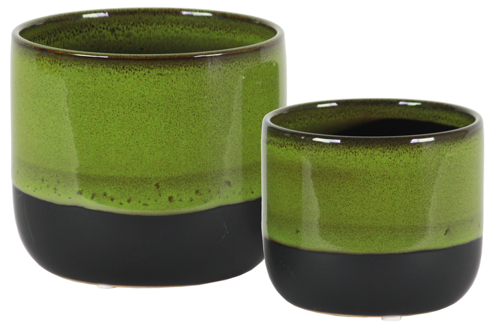 UTC11432 Ceramic Round Pot with Tapered Bottom and Black Banded Rim Bottom Set of Two Gloss Finish Green