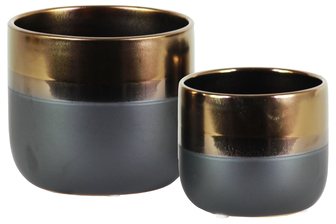 UTC11433 Ceramic Round Pot with Tapered Bottom and Gray Banded Rim Bottom Set of Two Gloss Finish Gold