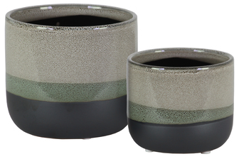 UTC11434 Ceramic Round Pot with Tapered Bottom and Black Banded Rim Bottom Set of Two Gloss Finish Gray