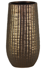 UTC11435 Ceramic Round Vase with Engraved Lattice Zigzag Design Body and Tapered Bottom LG Matte Finish Bronze