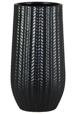 UTC11436 Ceramic Round Vase with Engraved Lattice Zigzag Design Body and Tapered Bottom LG Matte Finish Black