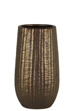 UTC11437 Ceramic Round Vase with Engraved Lattice Zigzag Design Body and Tapered Bottom SM Matte Finish Bronze