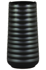 UTC11439 Ceramic Round Vase with Irregular Lip and Shadow Ribbed Design Body LG Matte Finish Black