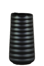 UTC11440 Ceramic Round Vase with Irregular Lip and Shadow Ribbed Design Body SM Matte Finish Black