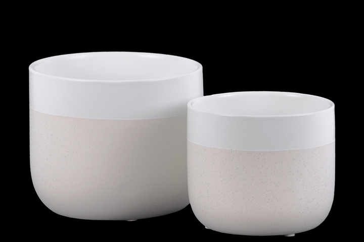 UTC11441 Ceramic Round Pot with Banded White Rim Top, Stipple Design Body and Tapered Bottom Set of Two Matte Finish Cream