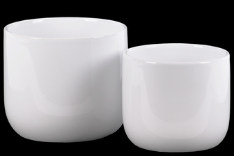 UTC11442 Ceramic Round Pot with Tapered Bottom Set of Two Gloss Finish White