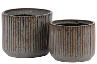 UTC11443 Ceramic Round Pot with Ribbed Rust Effect and Stipple Design Body and Tapered Bottom Set of Two Gloss Finish Gray