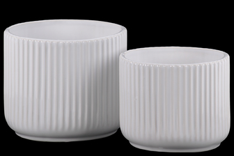 UTC11444 Ceramic Round Pot with Ribbed Design Body and Tapered Bottom Set of Two Gloss Finish White