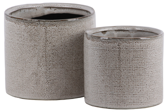 UTC11445 Ceramic Cylinder Pot with Stipple Design Body Set of Two Gloss Finish Cream