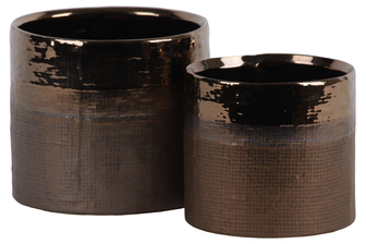 UTC11446 Ceramic Cylinder Pot with Banded Polished Gold Rim Top and Hatch Design Body Set of Two Matte Finish Gold