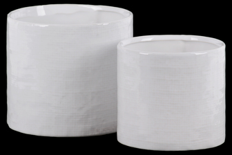 UTC11447 Ceramic Cylinder Pot with Hatch Design Body Set of Two Gloss Finish White