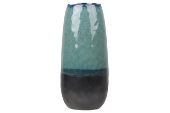 UTC11449 Stoneware Tall Round Vase with Irregular Mouth and Faded Blue Rim Top and Black Banded Bottom LG Gloss Finish Aquamarine