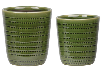 UTC11452 Stoneware Round Pot with Dotted Pattern Design Body and Tapered Bottom Set of Two Gloss Finish Olive Green