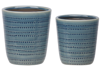 UTC11453 Stoneware Round Pot with Dotted Pattern Design Body and Tapered Bottom Set of Two Gloss Finish Blue