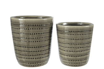 UTC11454 Ceramic Round Pot with Dotted Pattern Design Body and Tapered Bottom Set of Two Gloss Finish Dark Moss Green